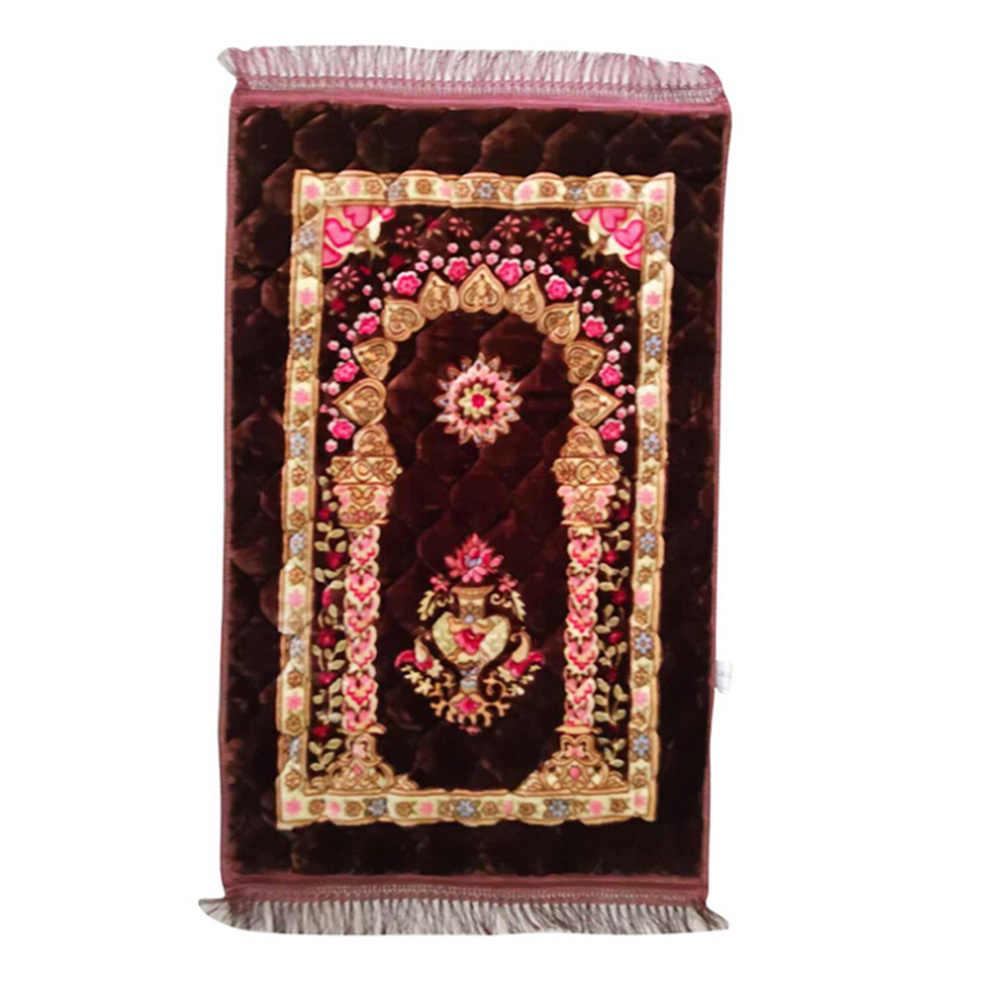 Islam Muslim Prayer Mat Nordic Karpet Lembut Serat Kapas Mengisi Karpet Portable Berdoa Selimut 80*120 Cm