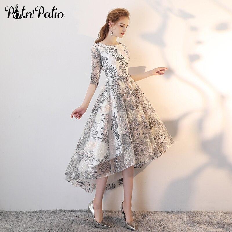 Simple High Low Evening Dresses Long 2018 Elegant O Neck