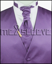 hot sale free shipping plain purple wedding dress(vest+ascot tie+cufflinks+handkerchief)