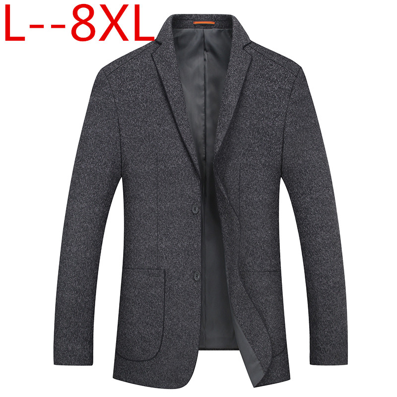 Plus size 6XL 8XL Men Slim Autumn Suit Blazer Formal Business Fashion Male Suit two Button Lapel Casual Long Sleeve Pockets Top
