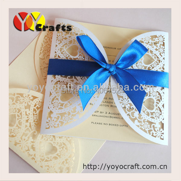 Couple hearts white pearl paper laser cut korean wedding couple hearts white pearl paper laser cut korean wedding invitation card with sea blue bow romantic wedding invitation card in cards invitations from home stopboris Choice Image