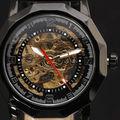 2015New marca de Luxo Esqueleto Irregular Especialmente Concebido Caso De Couro Do Homem de Aço Inoxidável Auto-Liquidação Dos Homens Relógio Mecânico
