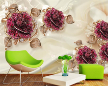 beibehang 3D Continental Atmosphere Premium 3d Wallpaper Luxury Noble Jewelry Flower TV Background papel de parede papier peint