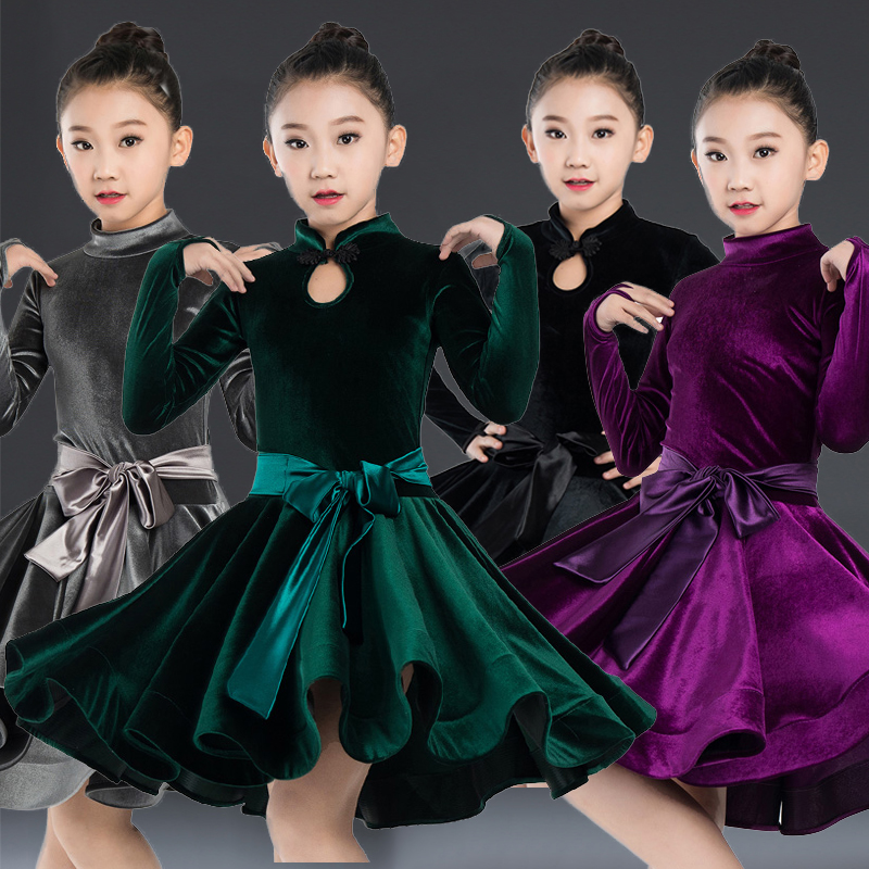 Latin Dance Dress Velvet Long Sleeve Girls Latin Competition Dresses Children Rumba Cha Cha Stage Practice Show Clothes DN2707