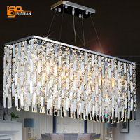 luxury design rectangular crystal chandelier LED light AC110V 220V lustre dinning room living room lamp
