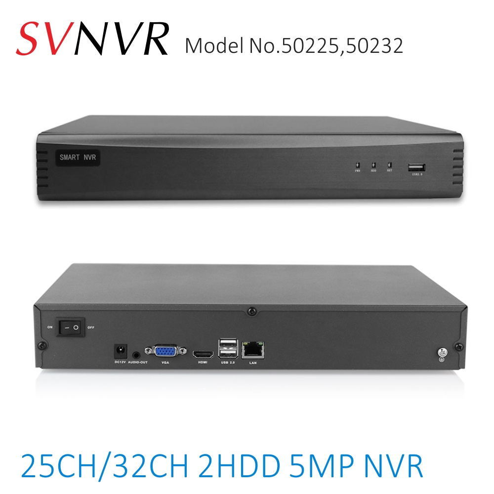SVNVR 25CH 32CH 5MP/4MP H.265 Smart Network Video Recorder support 2x10TB Harddrive with HDMI and VGA Output, Free PC Software-in Surveillance Video Recorder from Security & Protection    1
