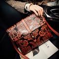 Estilo chino En Relieve Marea bolso Retro bolsa de Mensajero de las mujeres de calidad de lujo de la marca bolso de cuero de las señoras bolsos bolsa feminina