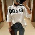[Alphalmoda] Coreano Novas Tshirts Moda Letras Grandes Cabelo Do Coelho Listrado Senhoras Soltas Casual Camisetas de Algodão