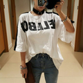 [Alphalmoda] Korean New Fashion Tshirts Big Letters Rabbit Hair Striped Ladies Loose Casual Cotton Tshirts