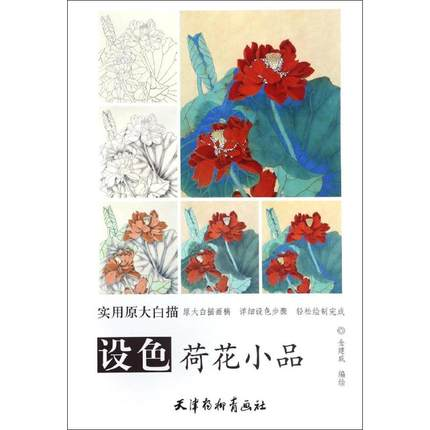 Traditional Chinese Bai Miao Gong Bi Line Drawing Art Painting Book About Lotus Sketches