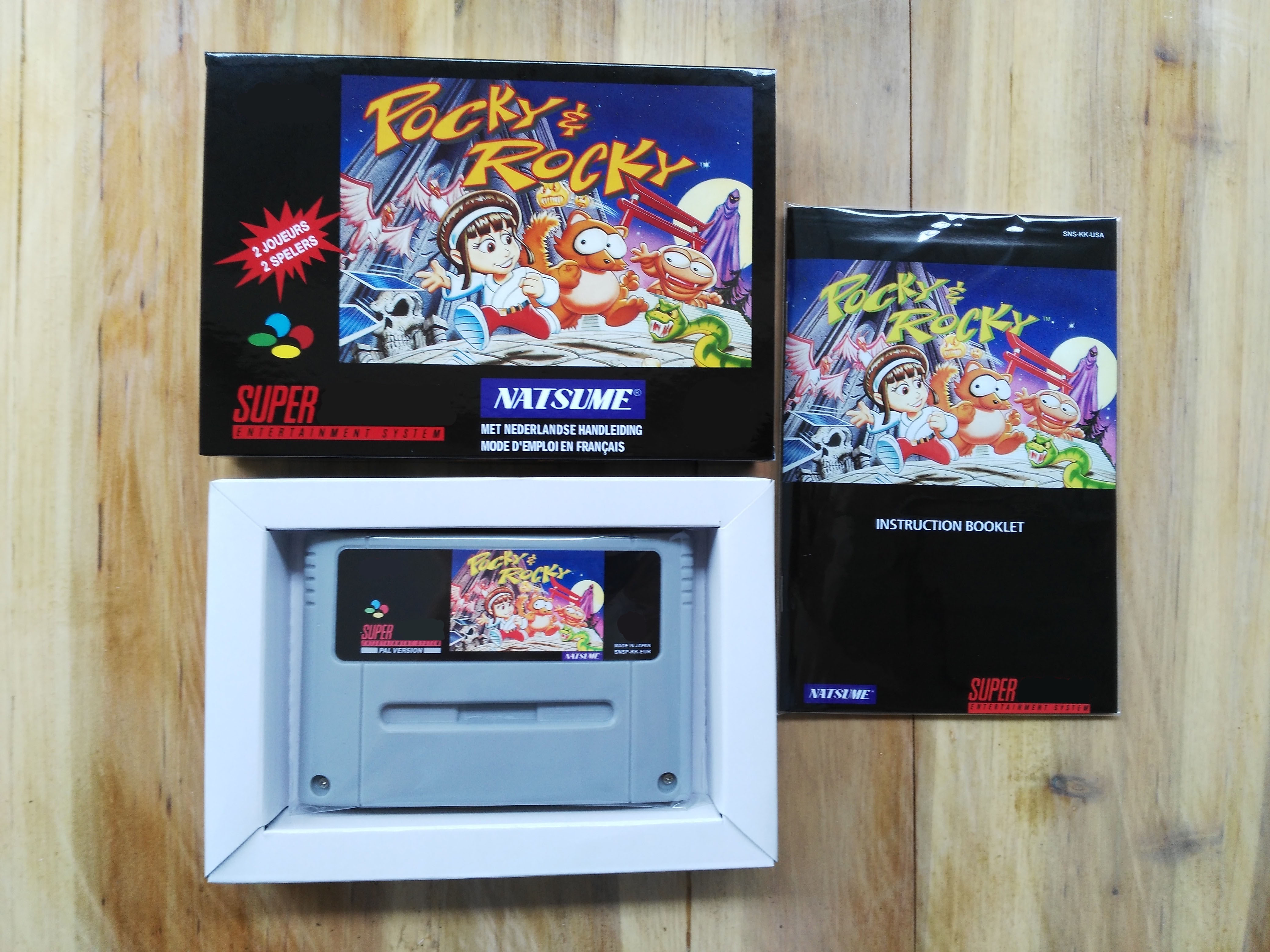 16Bit Games Pocky Rocky 1 PAL Version Box Manual Cartridge
