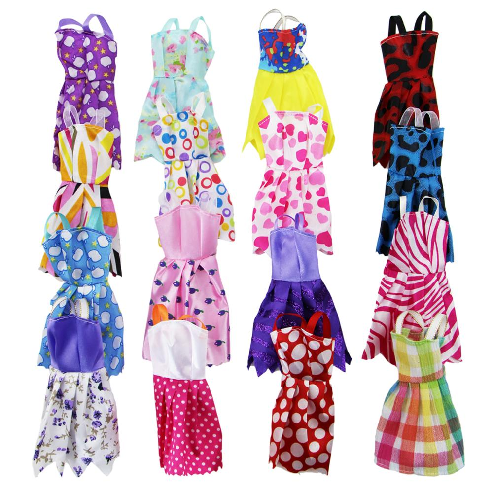 Fashion Random 10 PCS Mini Dresses Mixed Sorts Handmade Colorful Short Skirt Casual Dating Clothes For Barbie Doll Accessories random style fashion blue handmade doll dresses for girl xmas gift doll clothes accessories