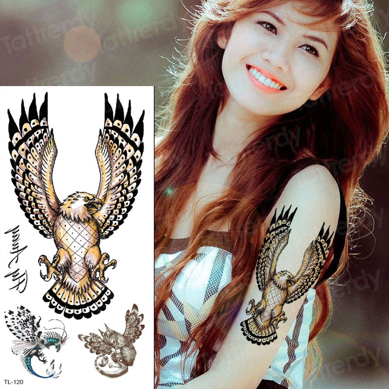 Fake Tattoo Eagle Waterproof Temporary Tatoo Wings Remover Tatoo Animals Waterproof Tattoo Arm Back Body Art Tattoos