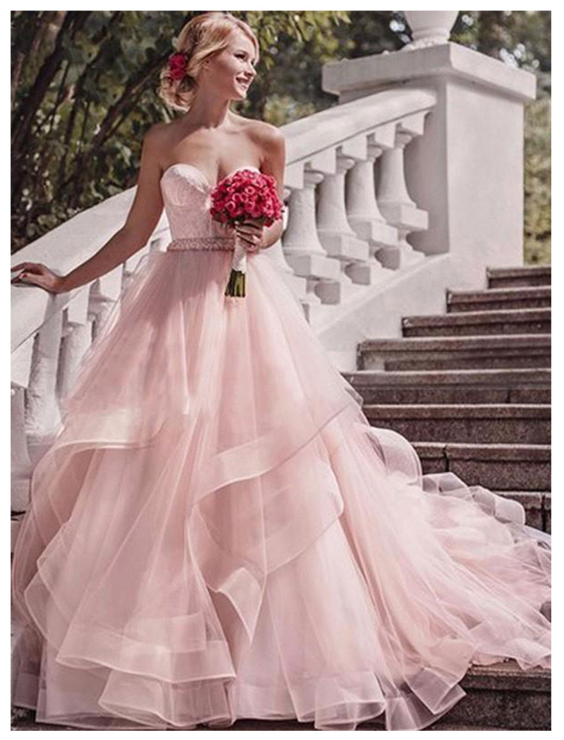 Beach Wedding Dress 2019 Pink Strapless With Delicate Appliques Sexy Bride Dress Backless Vestido De Novia Playa