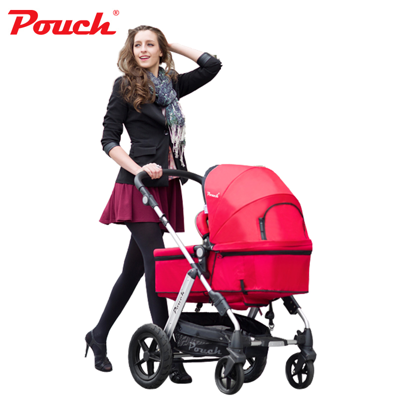 Pouch P68 Light weight 2 <font><b>in</b></font> <font><b>1</b></font> stroller with Storage Pushchair Portable <font><b>Baby</b></font> <font><b>pram</b></font> with car seat <font><b>3</b></font> <font><b>in</b></font> <font><b>1</b></font>(need to buy the carrier) image