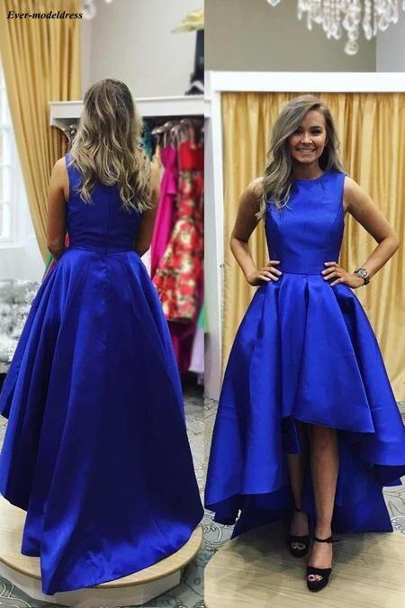 Royal Blue Hi-Lo   Prom     Dresses   2019 Satin O-Neck Zipper Back Floor Length A-Line Evening Party Gowns Vestido De Festa Customized