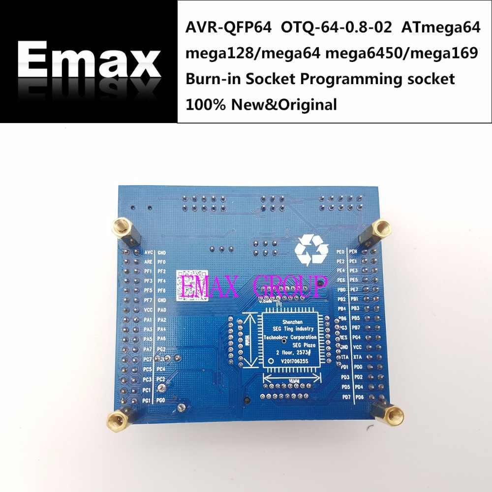 AVR-QFP64 OTQ-64-0 8-02 ATmega64 mega128/mega64 mega6450/mega169 Burn-in  Socket Programming socket seat Test Socket test bench