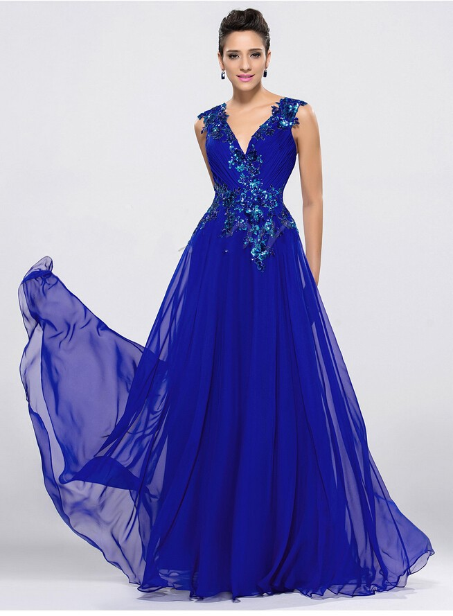 Free Shipping Gorgeous Sexy V-Neck Pleats A-Line Applique Zipper-Up Floor Length Formal Party prom Gown   bridesmaid     dresses