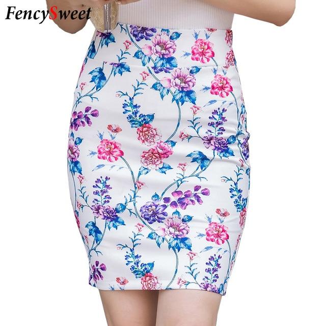 a5f2bdad6c OL Korean Style Elastic High Waist Ladies Mini Floral Print Skirt Summer  New Working Bodycon Sexy Pencil Skirts Plus Size S-3XL