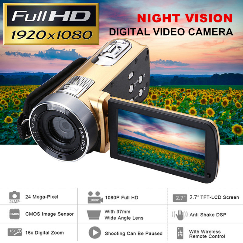 24 Million Pixels Infrared Night Vision HD Video Camcorder Handheld 1080P Digital Camera16x Digital Zoom Camcorder DV Recorder