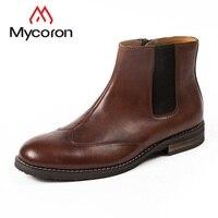 MYCORON/осенне зимние удобные ботинки «Челси», новые кожаные мужские ботинки, мужская кожаная обувь с высоким рукавом, кожаная мужская обувь