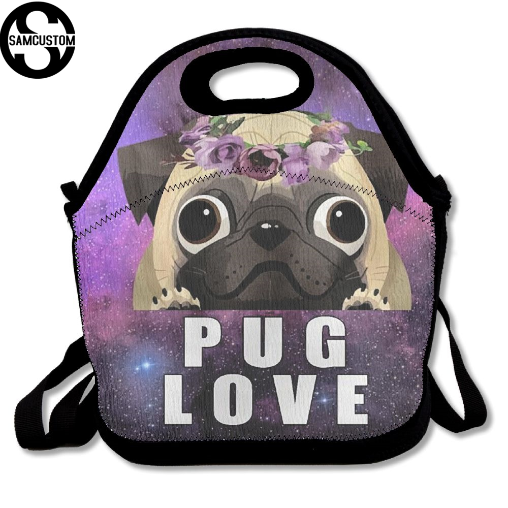 SAMCUSTOM I love pug 3D Print Lunch Bags Insulated Waterproof Food Girl Packages men and women Kids Babys Boys Handbags
