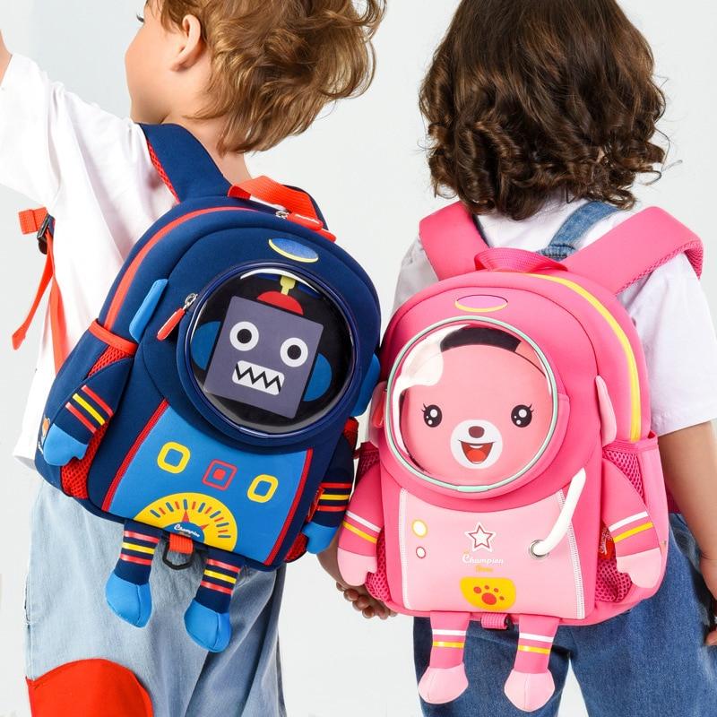 School-Bags Space Waterproof Kids Children Robot Designer Bear 3D Backpack for Boys Mochila-Infantil