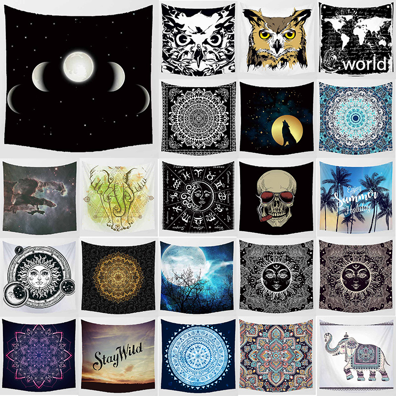 Unicorn moon indian elephant wall hanging tapestry home decoration wall art tapestry bedroom big tapestry size 1750mm 1750mm in Tapestry from Home Garden