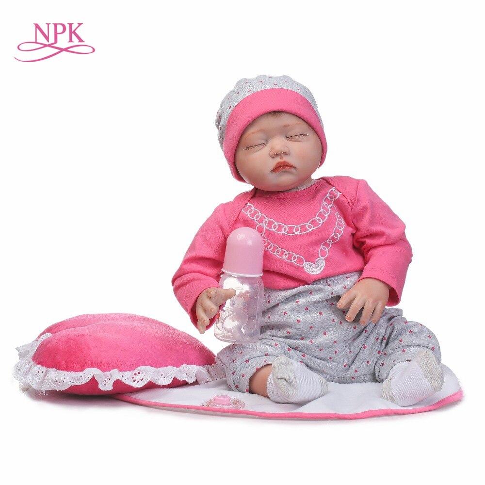 NPK NEW 22inch 55CM silicone vinyl soft real gentle touch reborn baby dolls sweet sleeping bebe