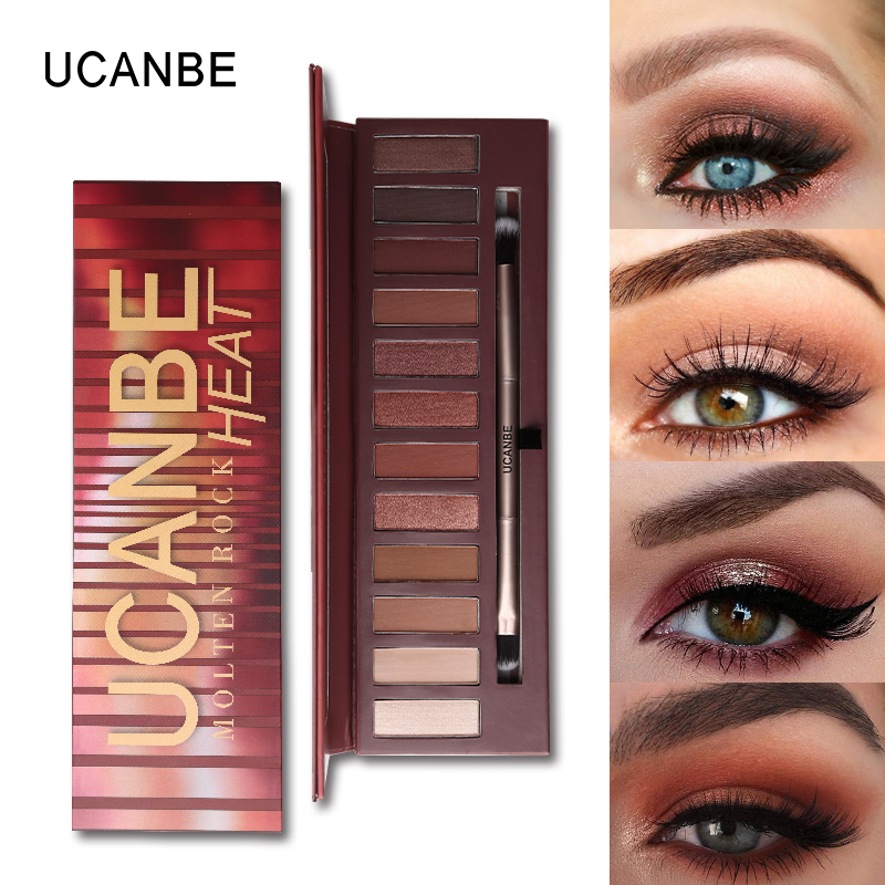 UCANBE Molten Rock Heat Eyeshadow Palette 12 Colors Matte Shimmer Eyeshadow Makeup Nude Warm Brown Red Smoky Pro Cosmetics Kits