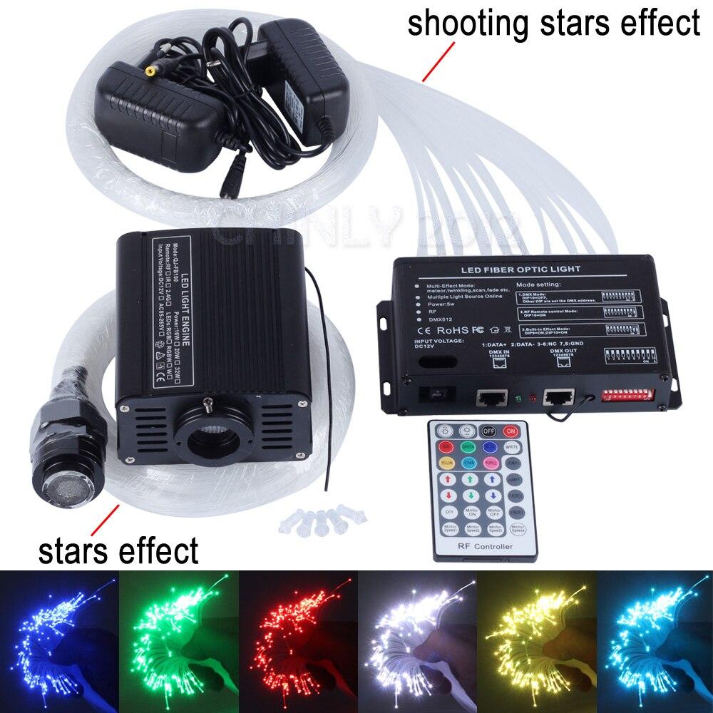 16W RGBW 28key remote LED Fiber Optic Star Ceiling Light Kit 150pcs 0 75mm 2m 2pcs