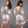 Bohemia 2016 verão novo de moda solta grandes estaleiros vestido elegante temperamento lazer v-neck Chiffon T0280