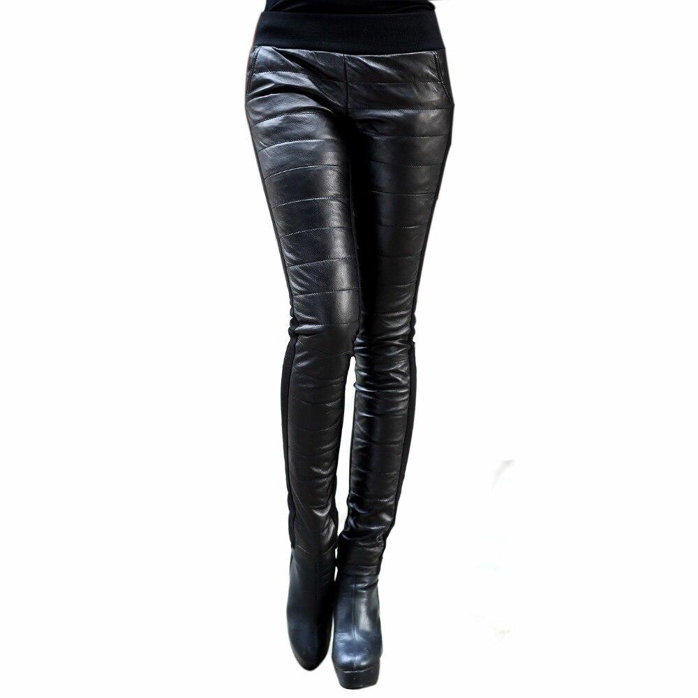 Inverno Delle Donne Del Cuoio Genuino pelle di Pecora Imbottiture Pantaloni Femminili Dei Pantaloni Della Matita Pantaloni di Avvio Con Velluto Metà di Vita Elastica Pantaloni Lucidi