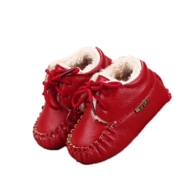 Genuine Leather Baby Shoes Moccasins Baby Toddler Shoes Unisex Newborn Baby Shoes First Walkers lace up Anti-slip Infant Boots