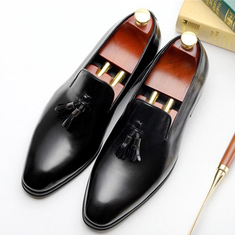 Men brand Italian shoes fashion mens dress shoes genuine leather tassel black Burgundy wedding male shoes