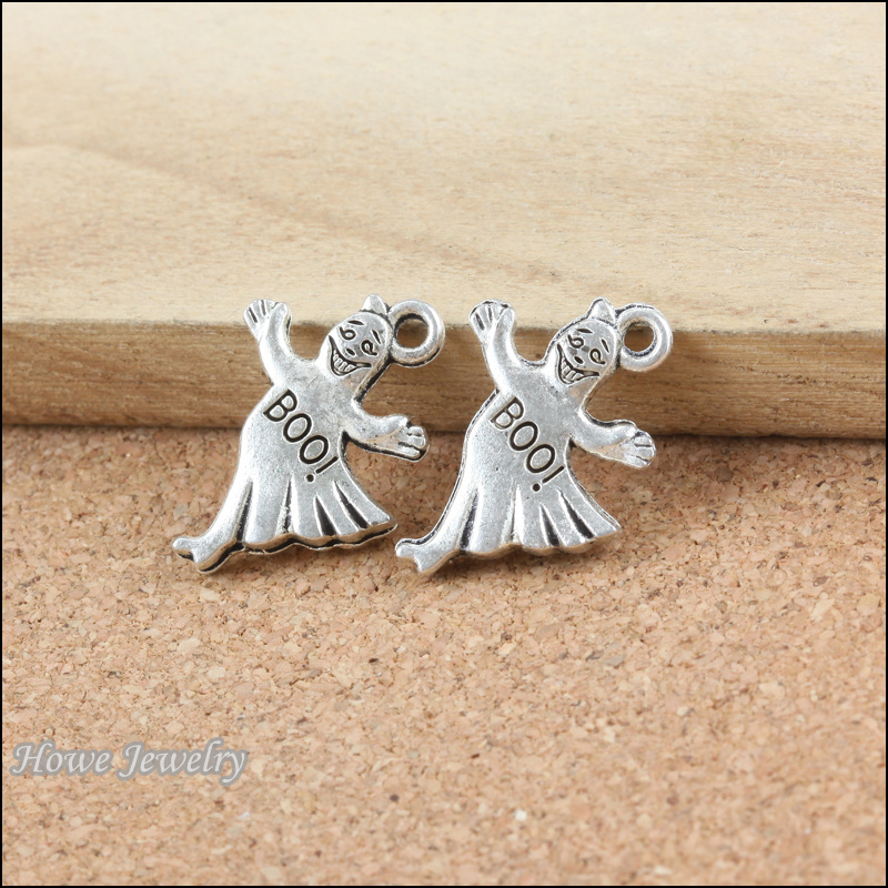80pcs vintage halloween ghost charm antique silver pendant diy european style jewelry making b202