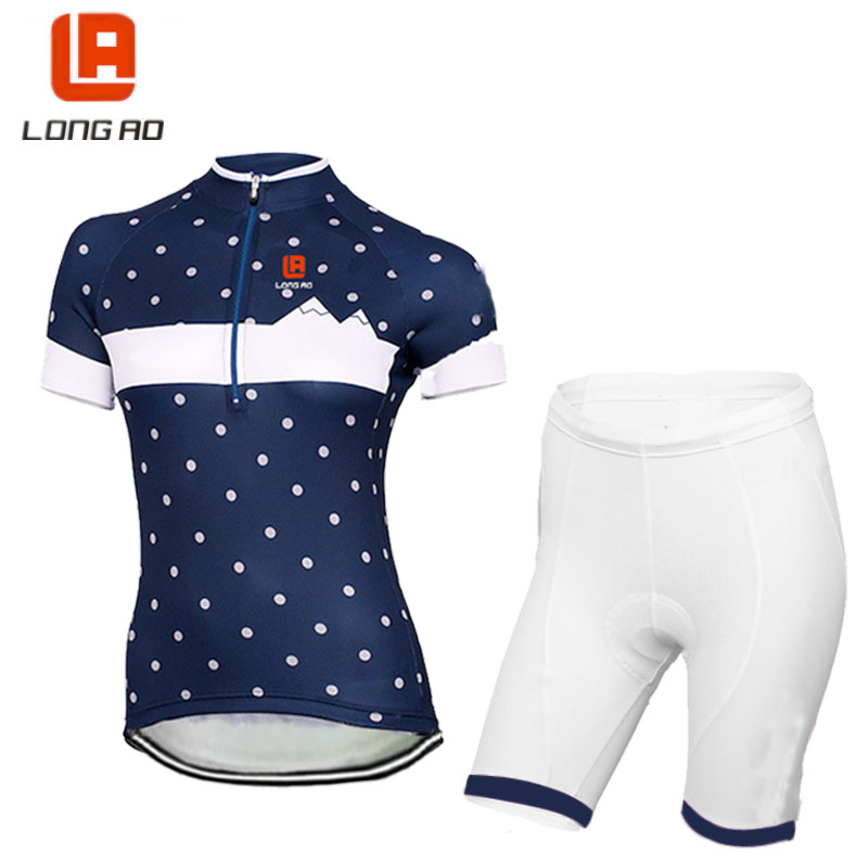 LONG AO Womens Cycling clothing set Classic short sleeve bike clothing blue cycling jersey white shorts Cycling clothes цена