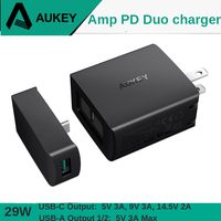 AUKEY 3 Port Fast Charger 29W PD 2.0 USB PD Type C + 3A USB Fast Charging Phone Charger Socket for Samsung Galaxy Xiaomi iPhone