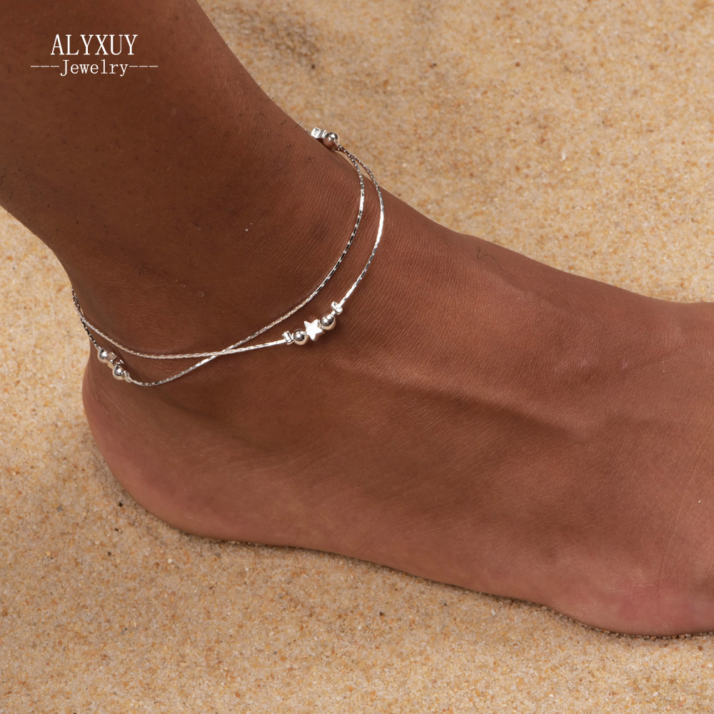 New fashion jewelry silver color heart beads star mix design anklet 30% silver plating anklet for women girl wholesale