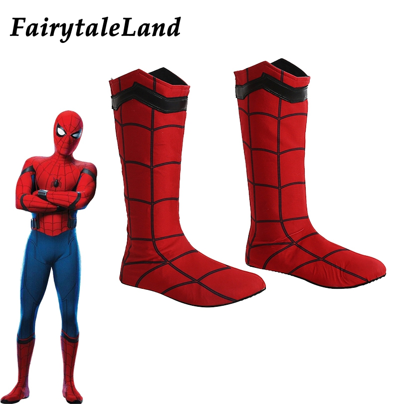 reputable site 2507f b64d7 US $52.99 |Spiderman Stiefel Halloween cosplay schuhe Superhero Cosplay  Zubehör spinne mann homecoming Spinne Mann schuhe rote stiefel-in Schuhe  aus ...