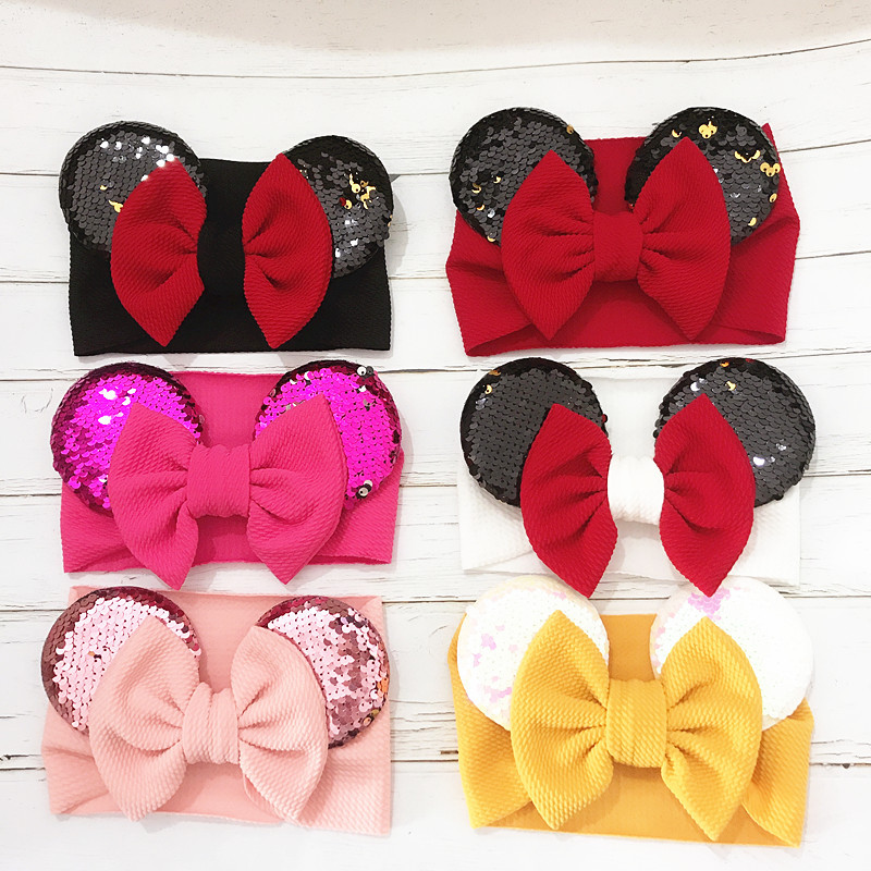 Baby Headband Girl Mickey Ear Headbands Newborn Big Bows Turban Toddler Sequin Headwrap Kids Wide Hairband Hair Accessories