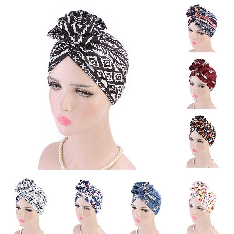 Fashion Women Muslim Hat Retro Flower Turban Hat Head Cancer Chemo   Beanie   Scarf Wrap Cap   Skullies     Beanies   turban hat