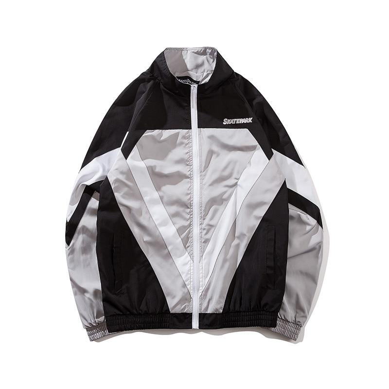 2018 Autumn Vintage Jacket Windbreaker Men Colorful Patchwork Jacket Coat Hip Hop Zip Up Harajuku Track Jacket Streetwear