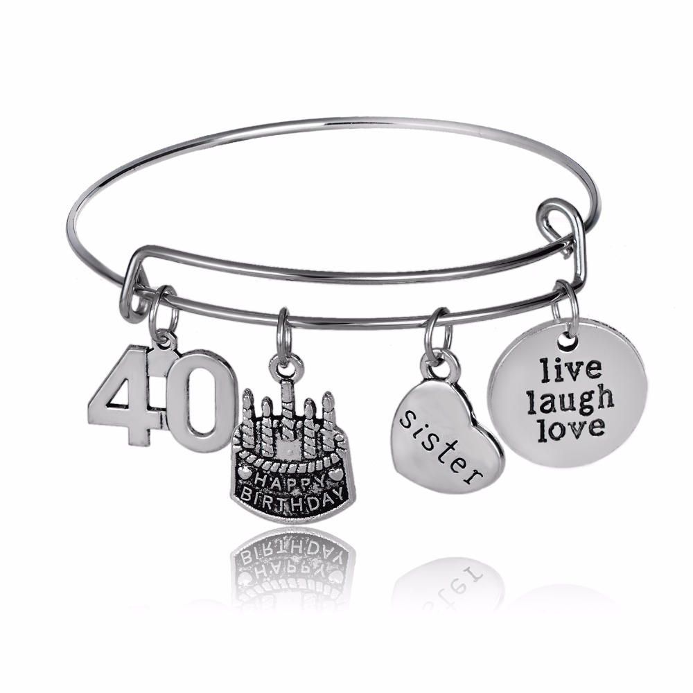 New Style Women Sister Sis Heart Bangles Happy Birthday Cake Family Party Gifts Bracelet Live Laugh Love Lucky Number 40 Jewelry