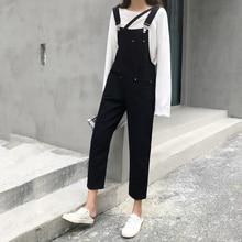 womens jeans femme 2019 nouveau Spring autumn jean Slim High waist Loose Straight pants women strap Overalls ladies jeans Korean
