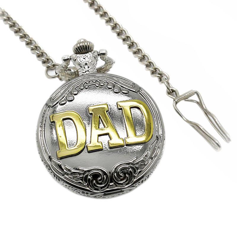 YISUYA DAD Pocket Watch Quartz Analog Steampunk Watch Necklace Father's Day Gift Men Clock Fob Watches Montre De Poche