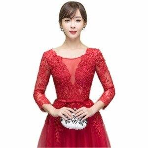 Image 4 - Vestidos de tul largo noche con apliques rojos oscuros NOBLE WEISS 2019 vestido Formal de fiesta de boda vestido de novia vestido de recepción