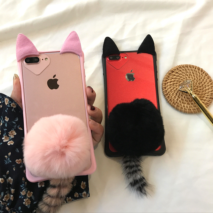 Cute Cartoon 3D Cat Ear Tail Fluffy Transparent Iphone X XS MAX XR 5 5S SE 6 6S 7 8 Plus Back Cover With Plush Fur Ball