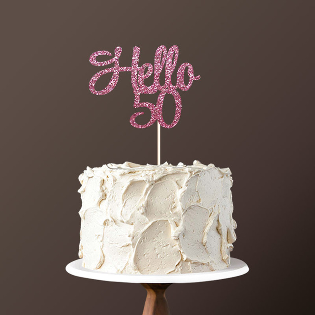 Phenomenal Hello 50 Cake Topper 50Th Birthday Party Decorations For Fifty Funny Birthday Cards Online Alyptdamsfinfo