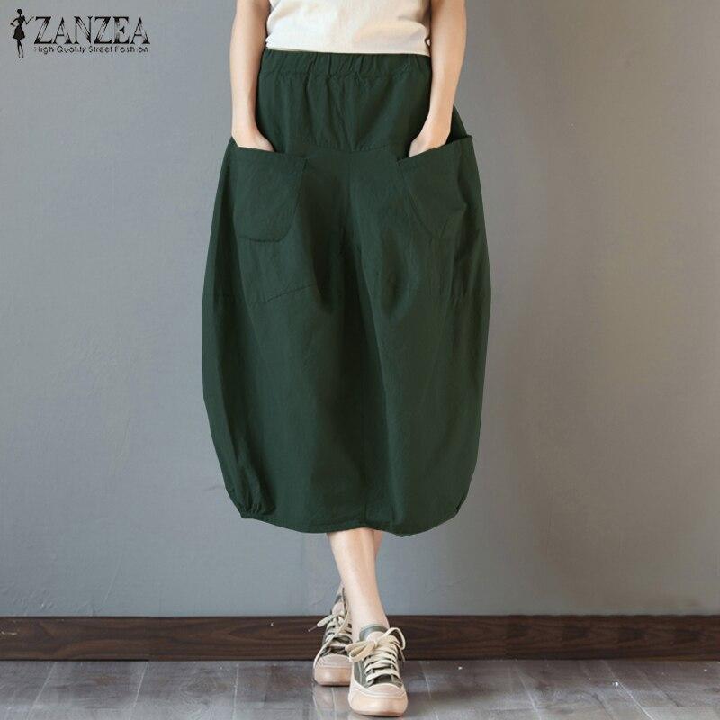 2019 Summer ZANZEA Women High Elastic Waist Cotton Linen Skirts Pockets Casual Loose Midi Skirt Baggy Party Jupe  Faldas